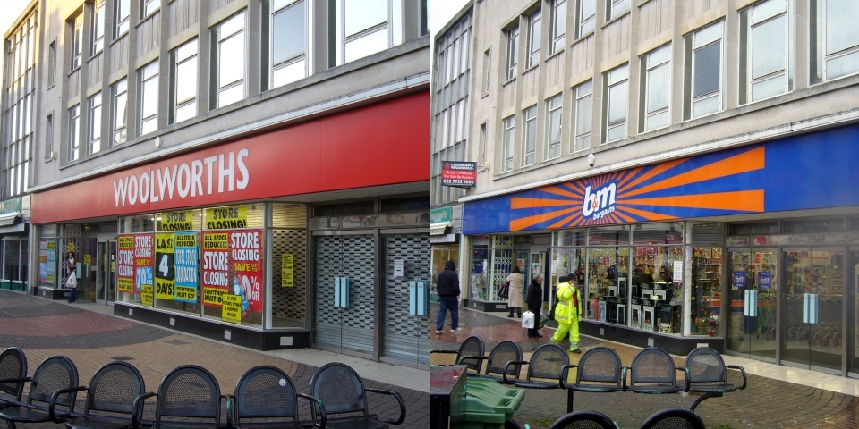 Before and after shots of Woolworths in Whitley Bay. Photographs by Graham Soult