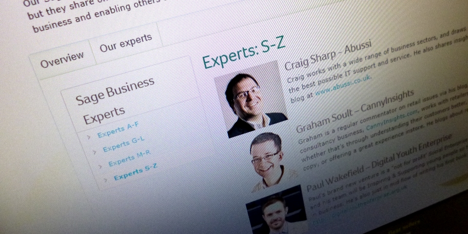 Sage Business Experts website. Photograph by Graham Soult