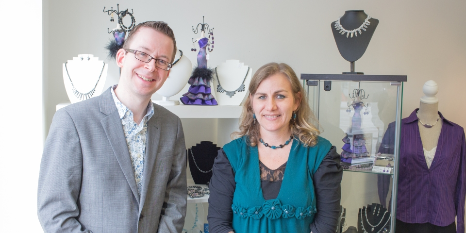Graham Soult and Marianne Robson with some of Marianne's handmade jewellery