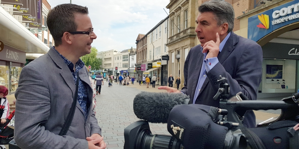 Graham Soult being interviewed by the BBC's Ian Reeve in Darlington town centre