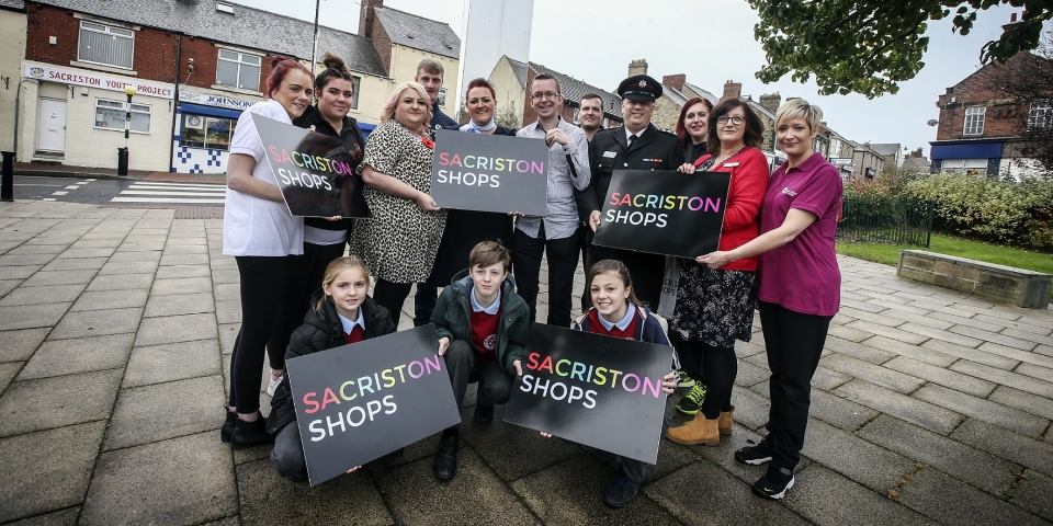 Business owners and other local stakeholders at the launch of Sacriston Shops