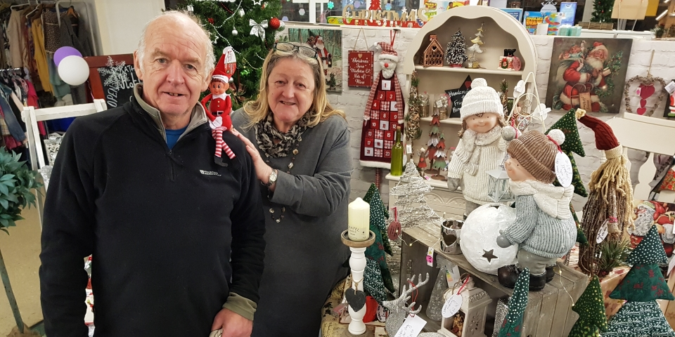 Market Hall retailers Colin Priestley from Haberdashery Heaven and Daisy Fowler from Daisy Lady Crafts