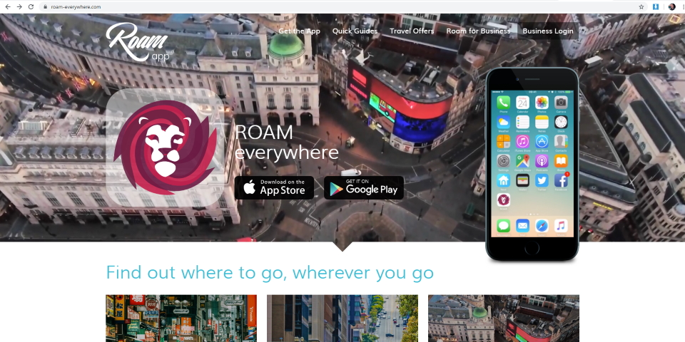 The Roam app website at roam-everywhere.com