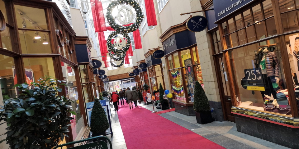The attractive Sanderson Arcade in Morpeth. Photograph by Graham Soult