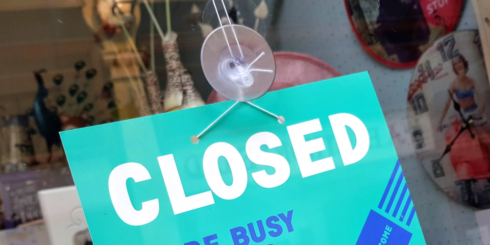 Shop closed sign. Photograph by Graham Soult