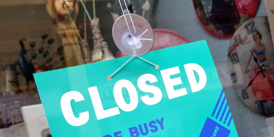 Shop closed sign. Photograph by Graham Soult